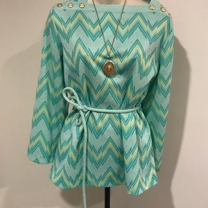 Epic vintage 70s Carol Brady Chevron Tie Waist top